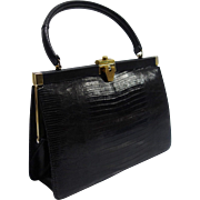 Vintage Bellestone Black Reptile Structured Purse