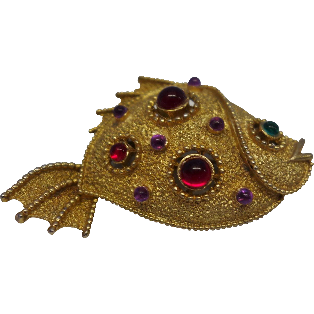 Vintage Jeweled Fish Pin by J.J.