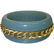Vintage Blue Lucite Bangle Bracelet with Embedded Chain