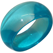 Wide Transparent Teal Lucite Bangle Bracelet