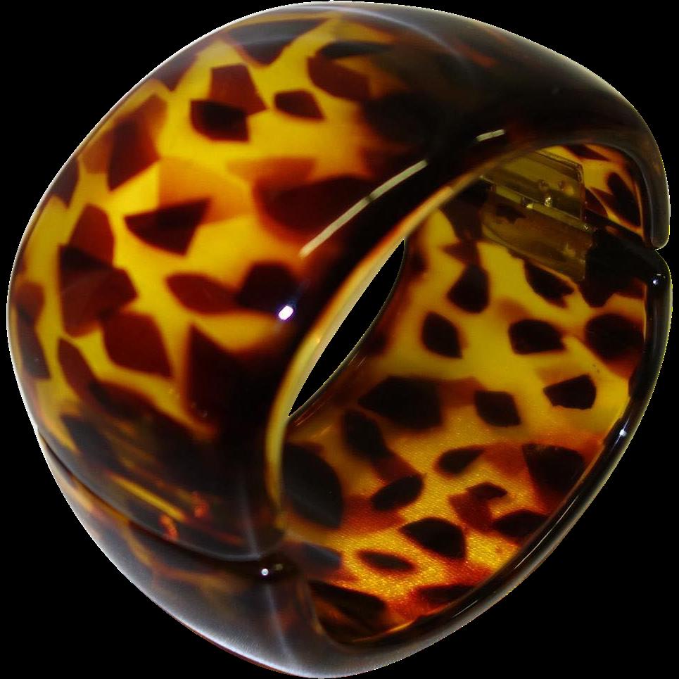 Vintage WIDE Tortoiseshell Colored Lucite Hinge Bracelet