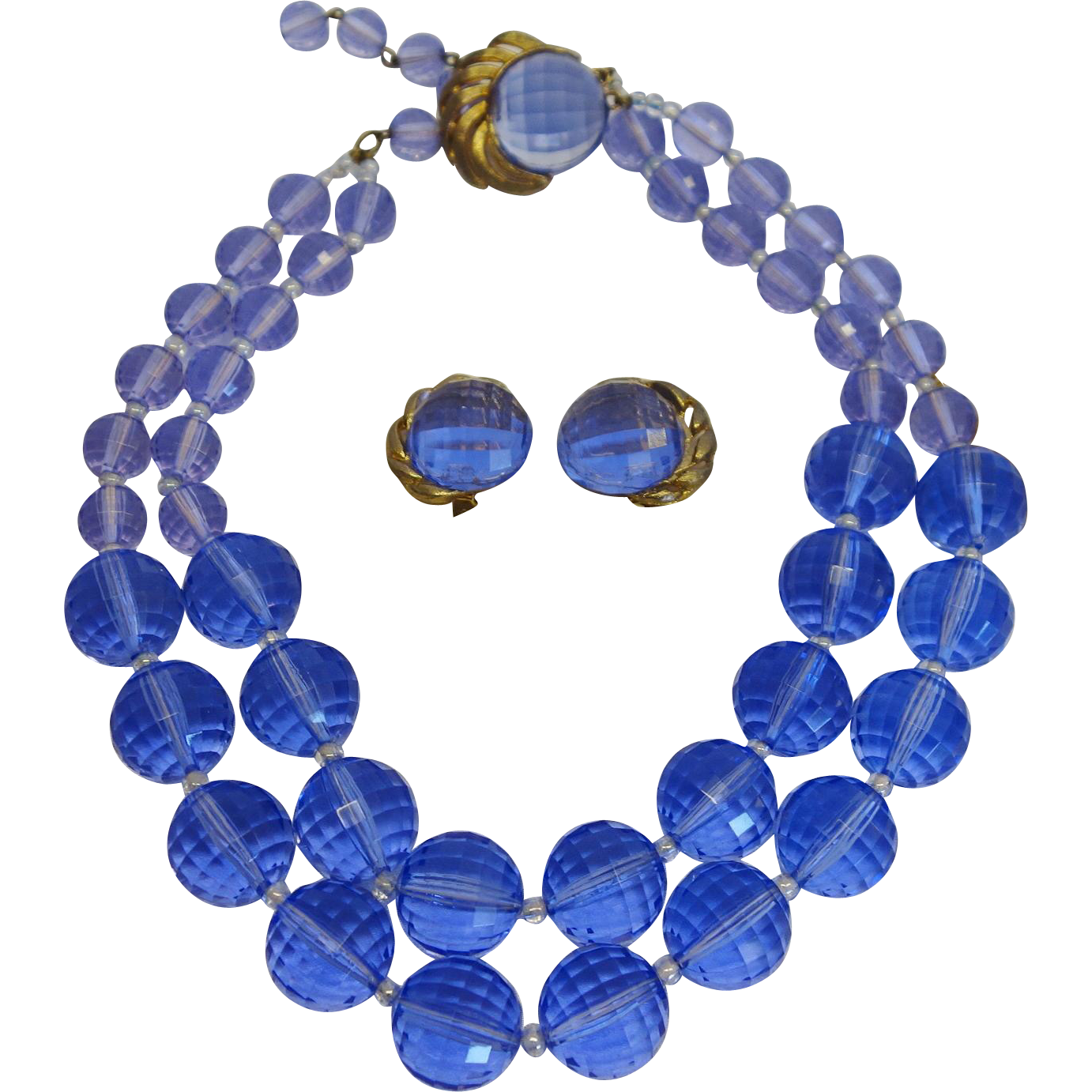 Stunning Double Strand Prism-Faceted Lucite Necklace and Earring Set by Du-Boyes