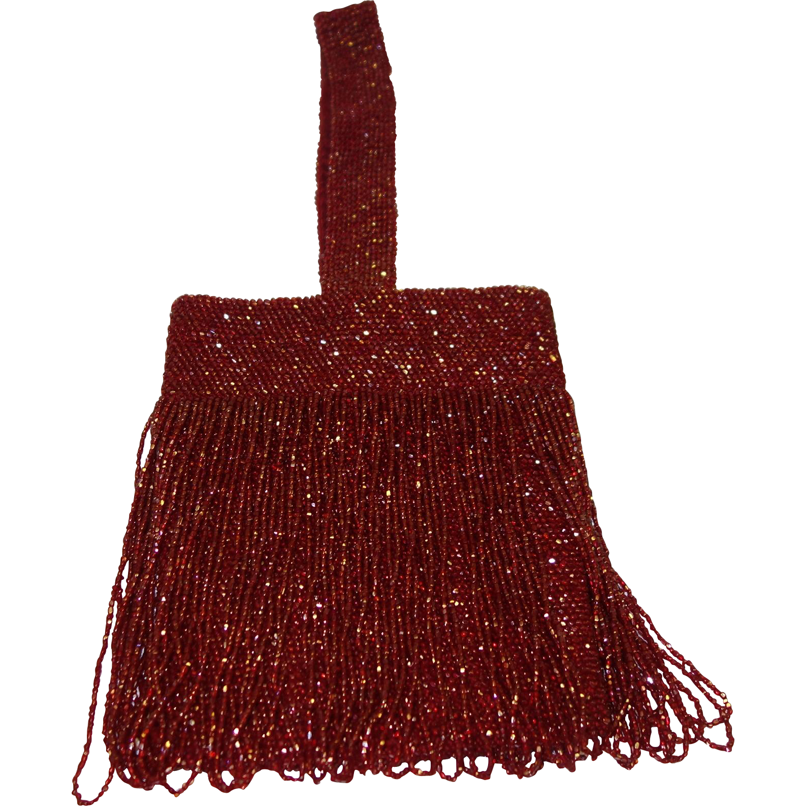 Vintage Iridescent Red Glass Beaded Flapper Purse