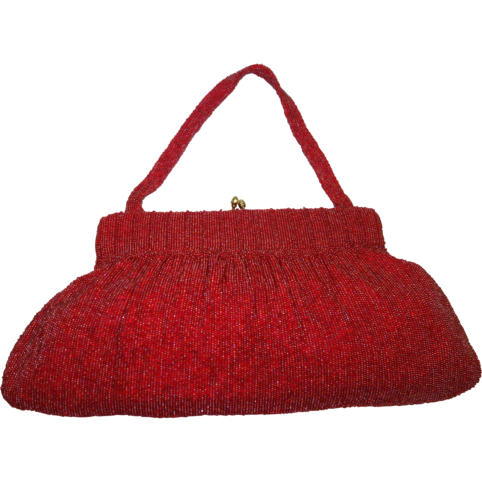 Stunning Extra Large Red Glass Beaded Bag Made in Belgium