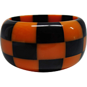 Vintage WIDE Orange and Black Checkered Lucite Bracelet