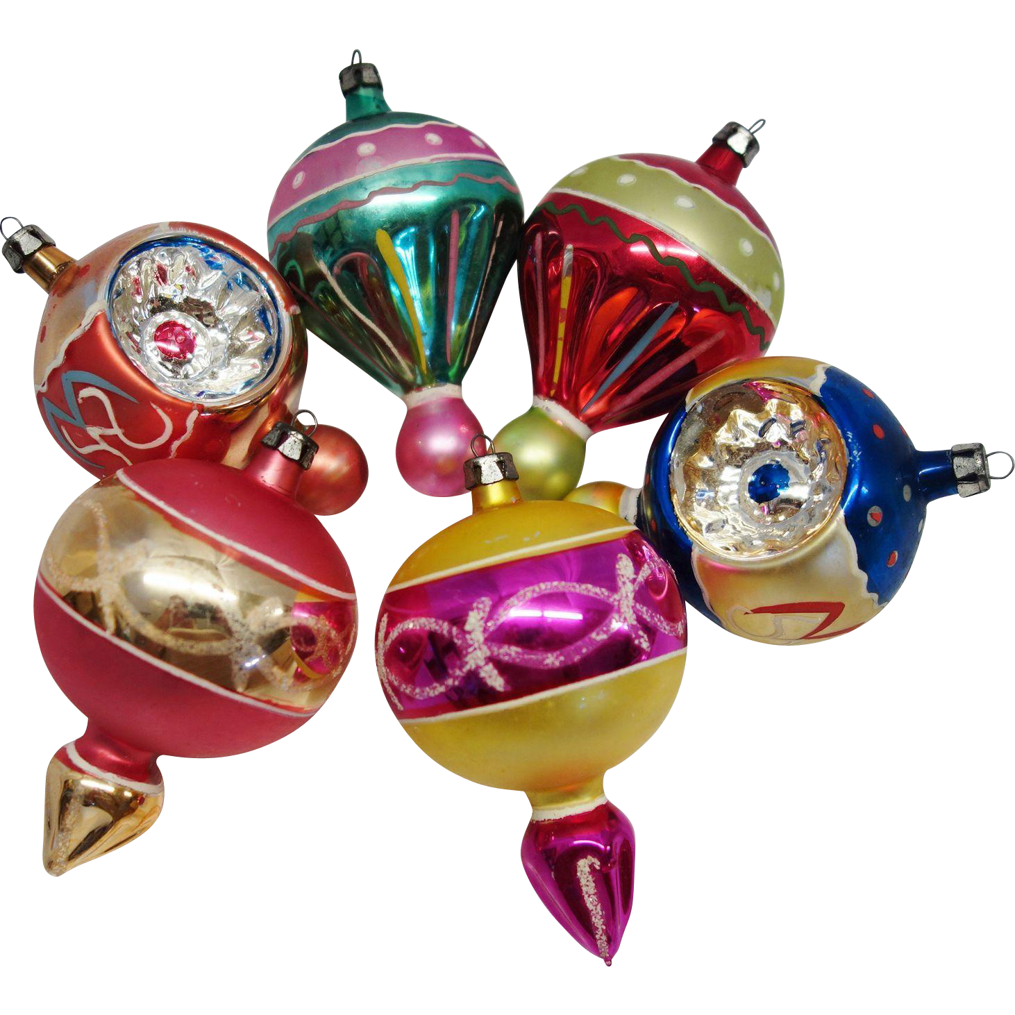 Christmas ornaments glass - 6 Large Fancy Poland Finial Blown Glass Christmas Ornaments