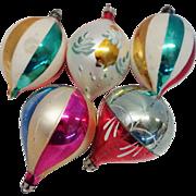 5 Large Poland Teardrop Glass Christmas Ornaments