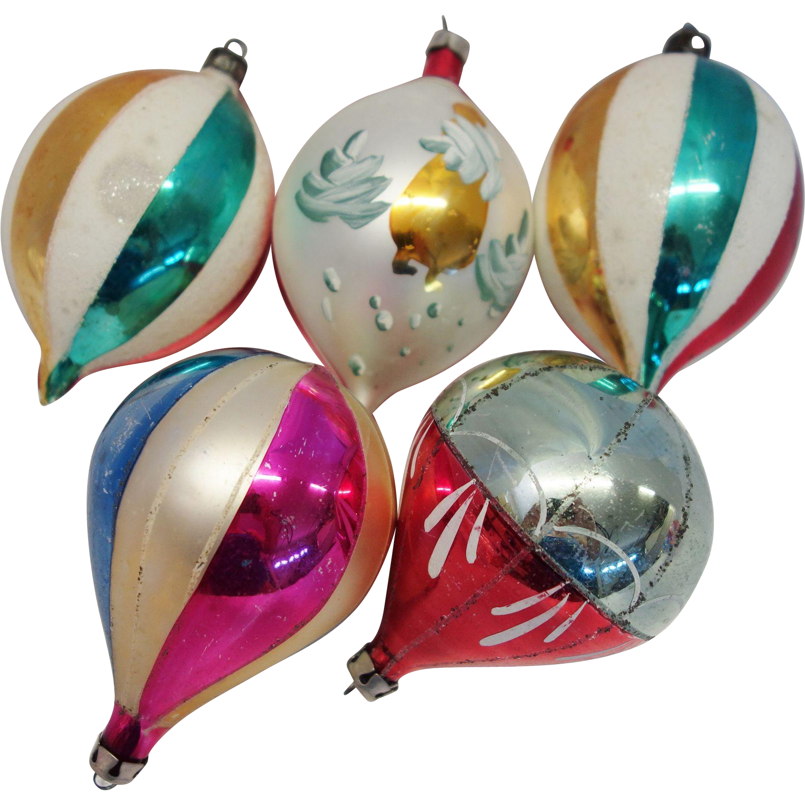 Christmas ornaments glass - 5 Large Poland Teardrop Glass Christmas Ornaments