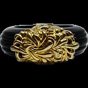 Vintage Unsigned Inna Cytrine Paris Black Lucite Hinge Bracelet