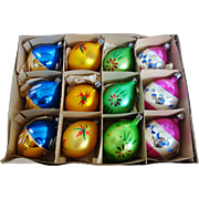 Vintage Box of 12 Poland Fantasia Teardrop Christmas Ornaments