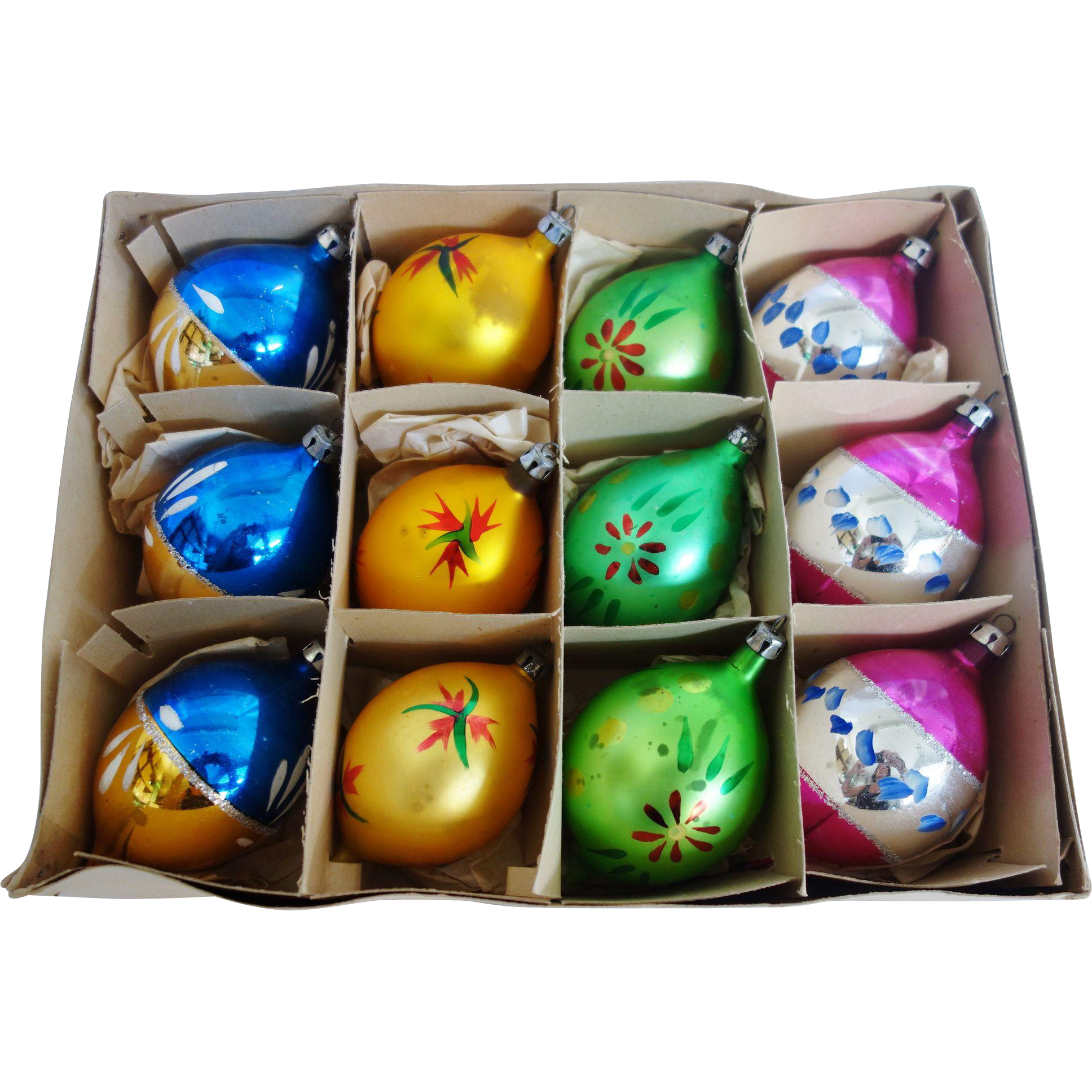 Vintage Box of 12 Poland Fantasia Teardrop Christmas Ornaments