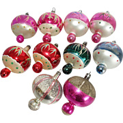 10 Poland Hand Painted Finial Indent Glass Christmas Ornaments