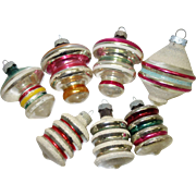 7 Shiny Brite Fancy Shape Striped Ornaments c. 1935-40