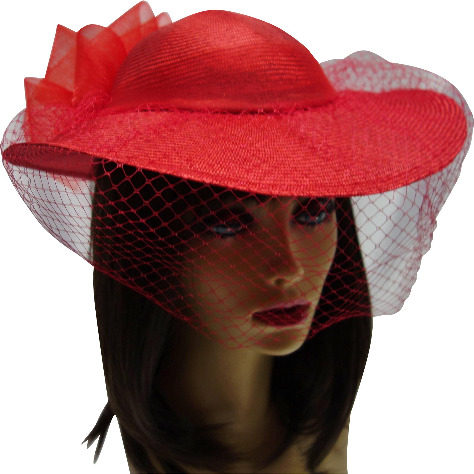 Vintage Bright Red Woven Hat by Sonni San Francisco
