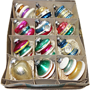 Box 12 Large American Made Fancy Molded Shapes Christmas Ornaments