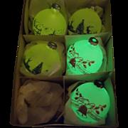 Five RARE Shiny Brite Glow in the Dark Stenciled Scene Ornaments