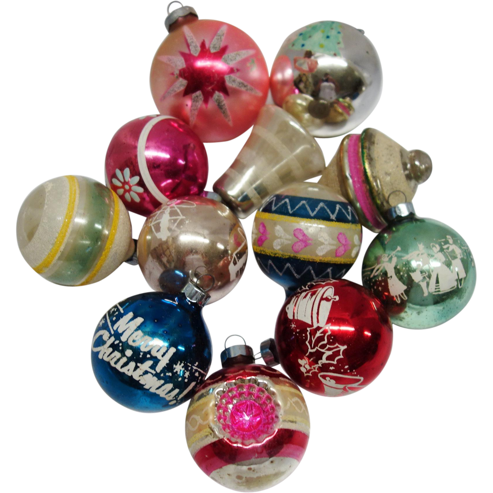 Christmas ornaments glass - 12 Vintage American Made Glass Christmas Ornaments