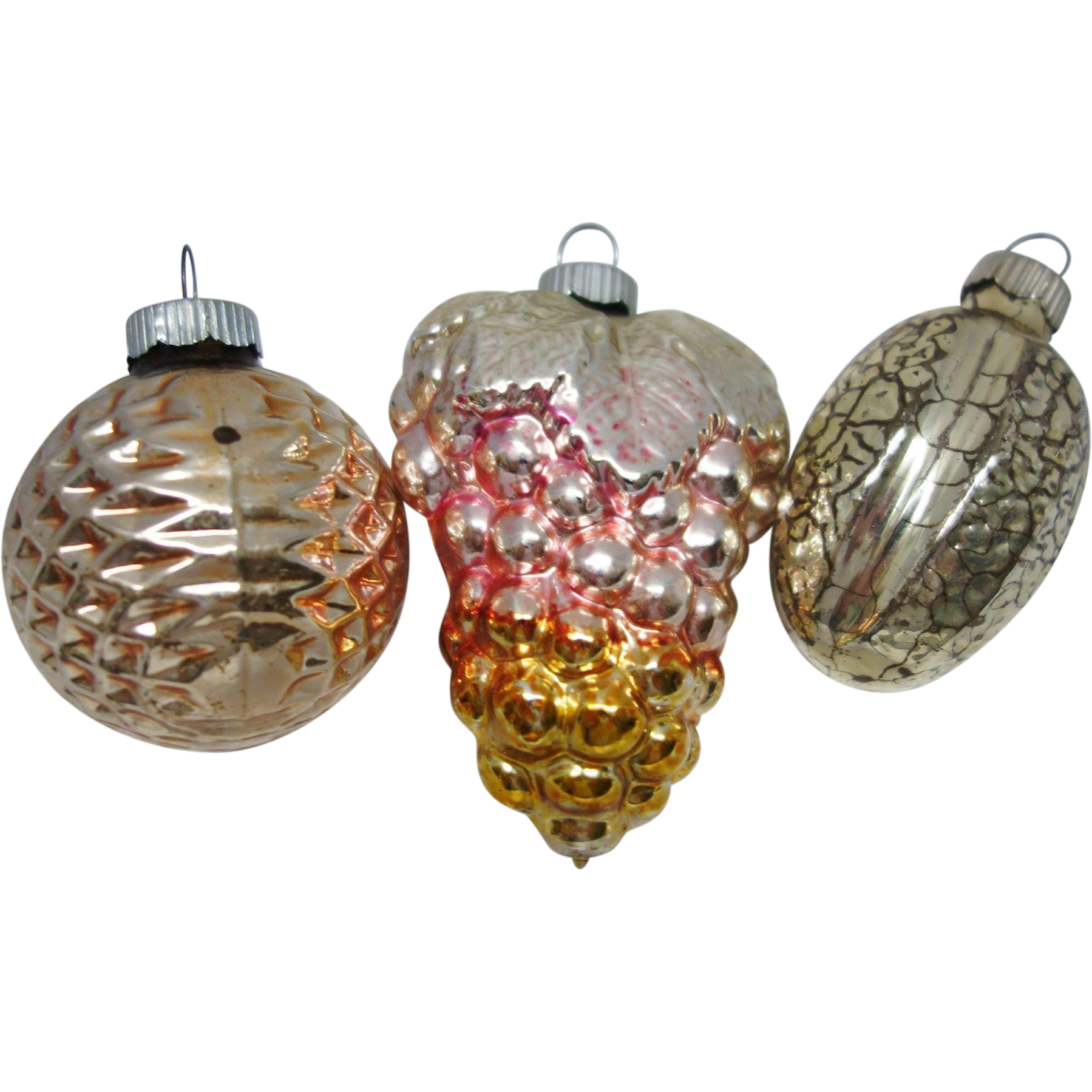 Three Vintage Shiny Brite Figural Glass Christmas Ornaments