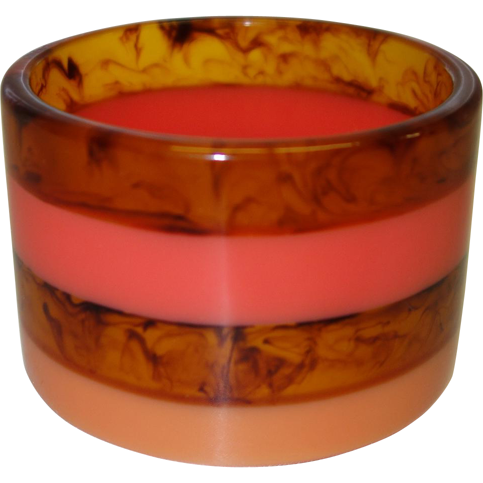 Vintage Wide Laminated Lucite Bangle Bracelet