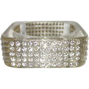 Vintage Clear Square Lucite Bracelet with Embedded Rhinestones