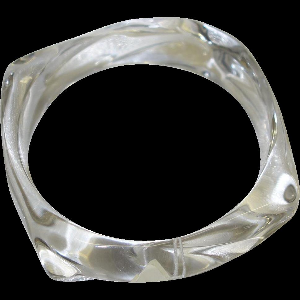 Vintage Napier Clear Lucite Bangle Bracelet
