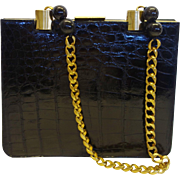Vintage Black Bellestone Alligator Shoulder Bag with Heavy Chain Handle