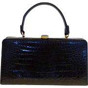Vintage Manon Black Alligator Handbag