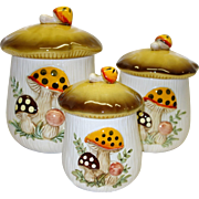 Vintage Sears and Roebuck's Merry Mushroom Canister Set c. 1983