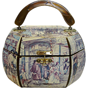 Vintage Octagonal Wooden Decopage Purse with Colonial Times Theme