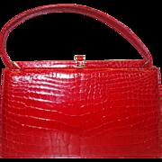 RARE Lucille de Paris Fire Engine Red Porosus Crocodile Frame-Bag