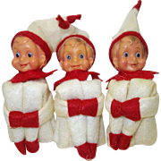 Three Small Vintage Knee Hugger Elves with Ceramic Heads