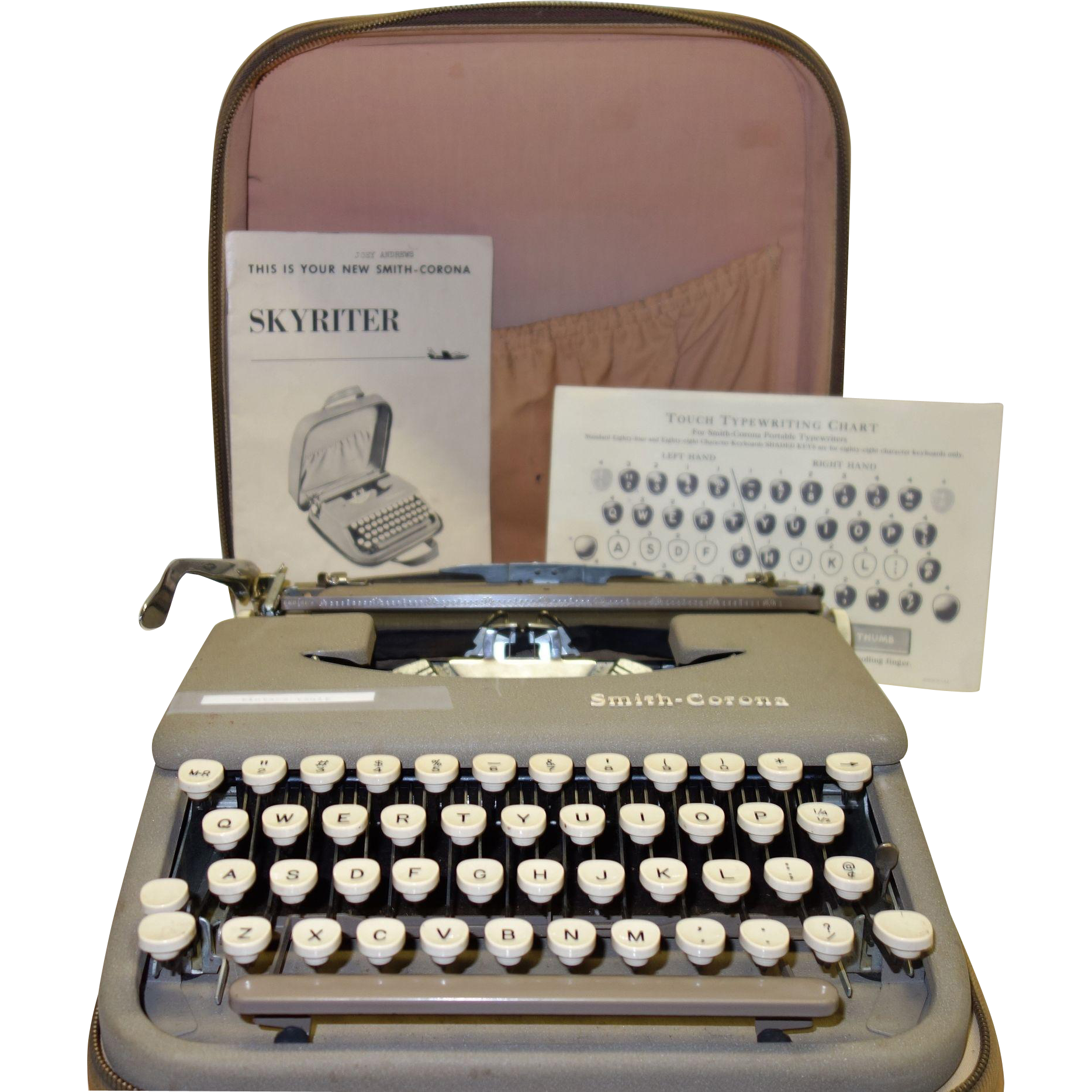 Vintage Fifties Smith-Corona Skyriter Portable Typewriter with Original Instructions