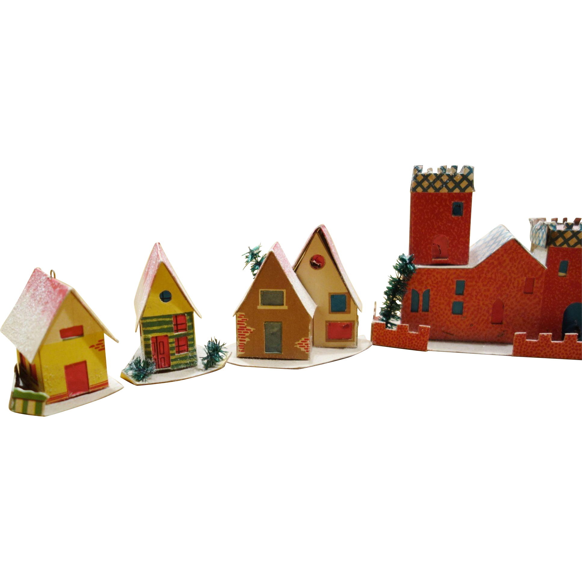 12 Vintage Cardboard Mica Putz House Christmas Ornaments ...