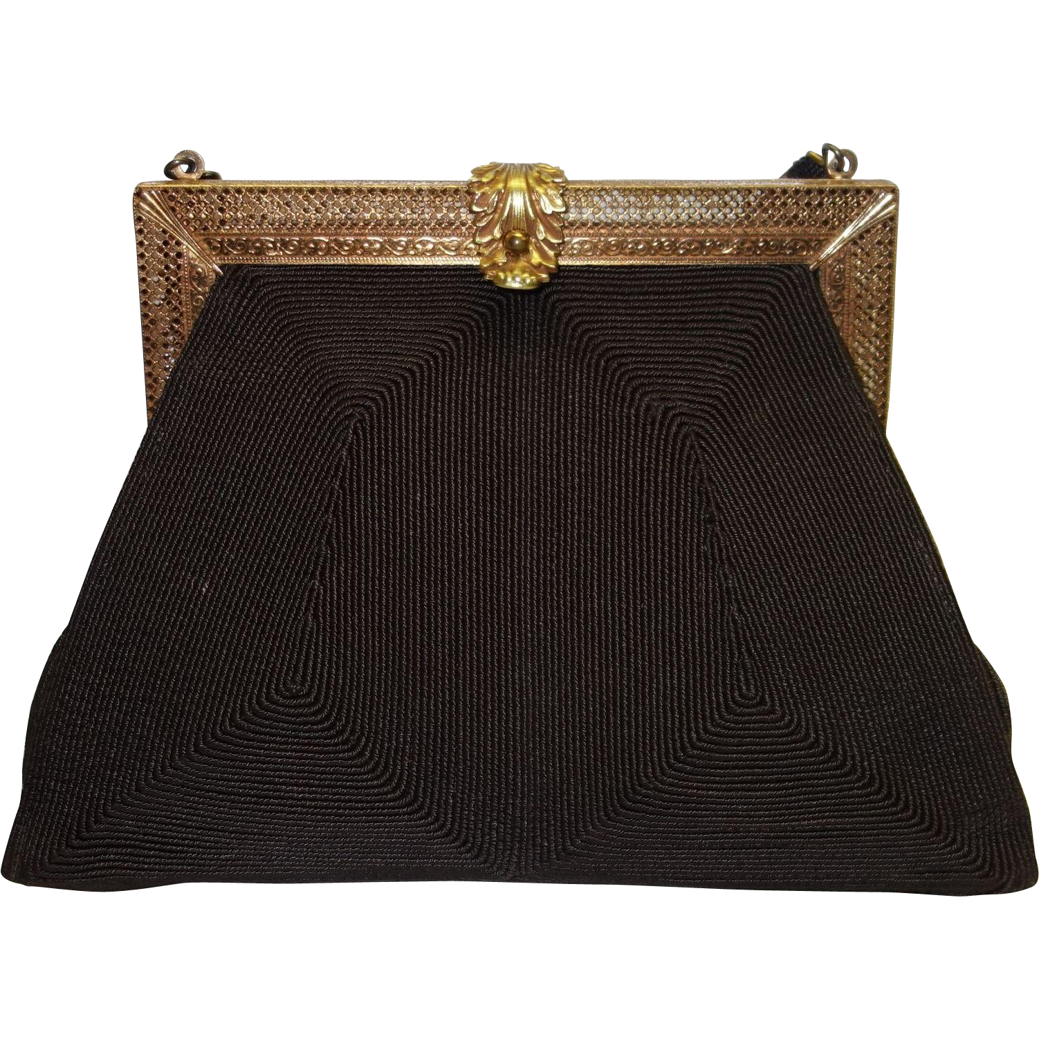 Vintage 1940's Brown Genuine Corde` Purse with Intricately Detailed Frame