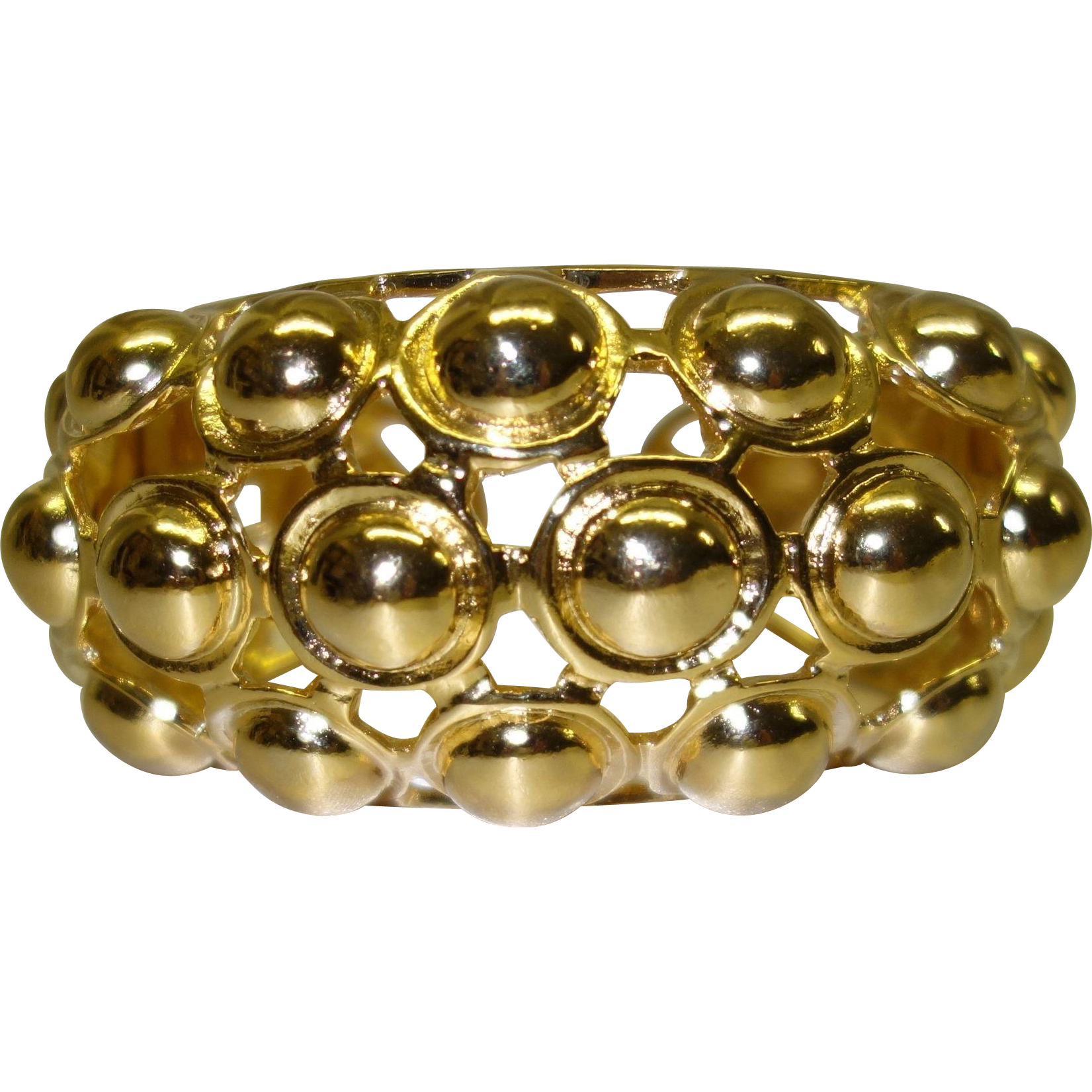 Vintage Kenneth Jay Lane Gold Tone Metal Hinged Cuff Bracelet