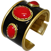 Bold Kenneth Jay Lane Black Enamel with Cabochons Cuff Bracelet