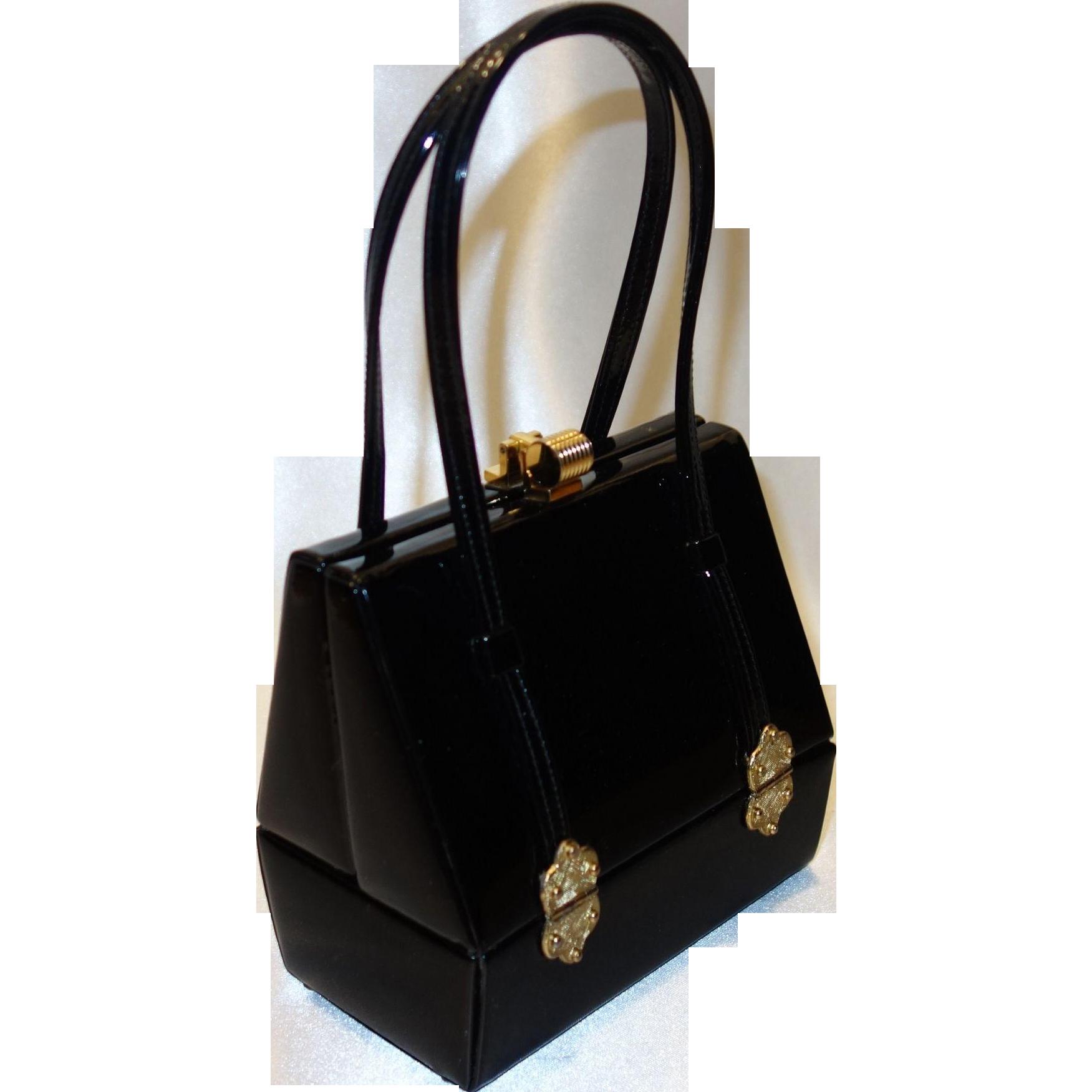 Elegant Fifties Black Patent Leather Platform Purse by Murray Kruger