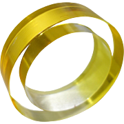 Yellow and Clear Watercolor Lucite Slice Bangle Bracelet