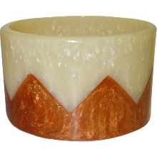 Vintage WIDE Marbled Brown and Pale Yellow Laminated Lucite Sliced Bangle Bracelet