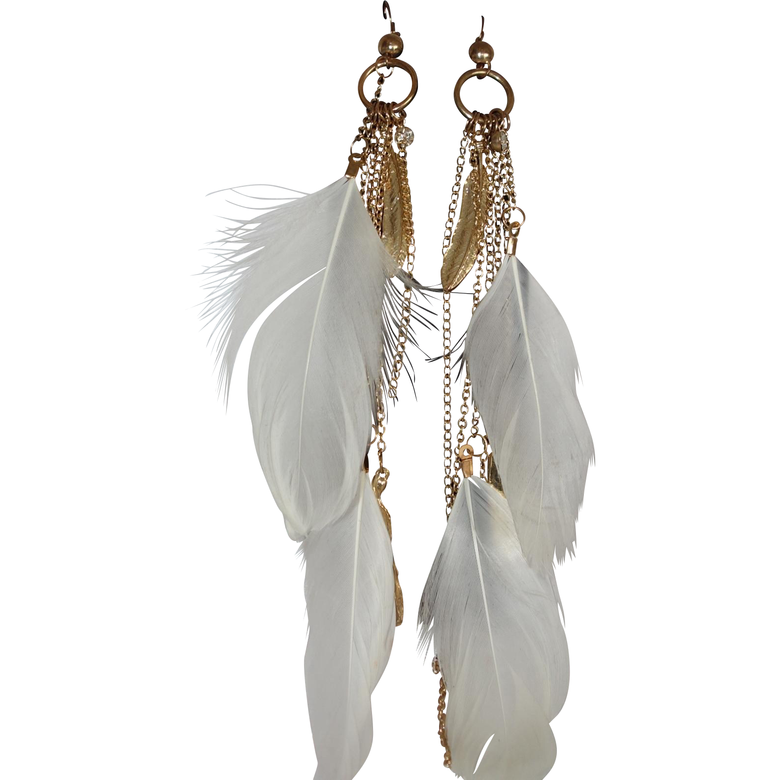 Vintage Gold Tone Metal Leaf and White Feather Shoulder Duster Earrings