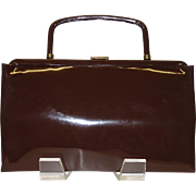 Vintage Dark Brown Vinyl Convertible Clutch Handbag by Garay