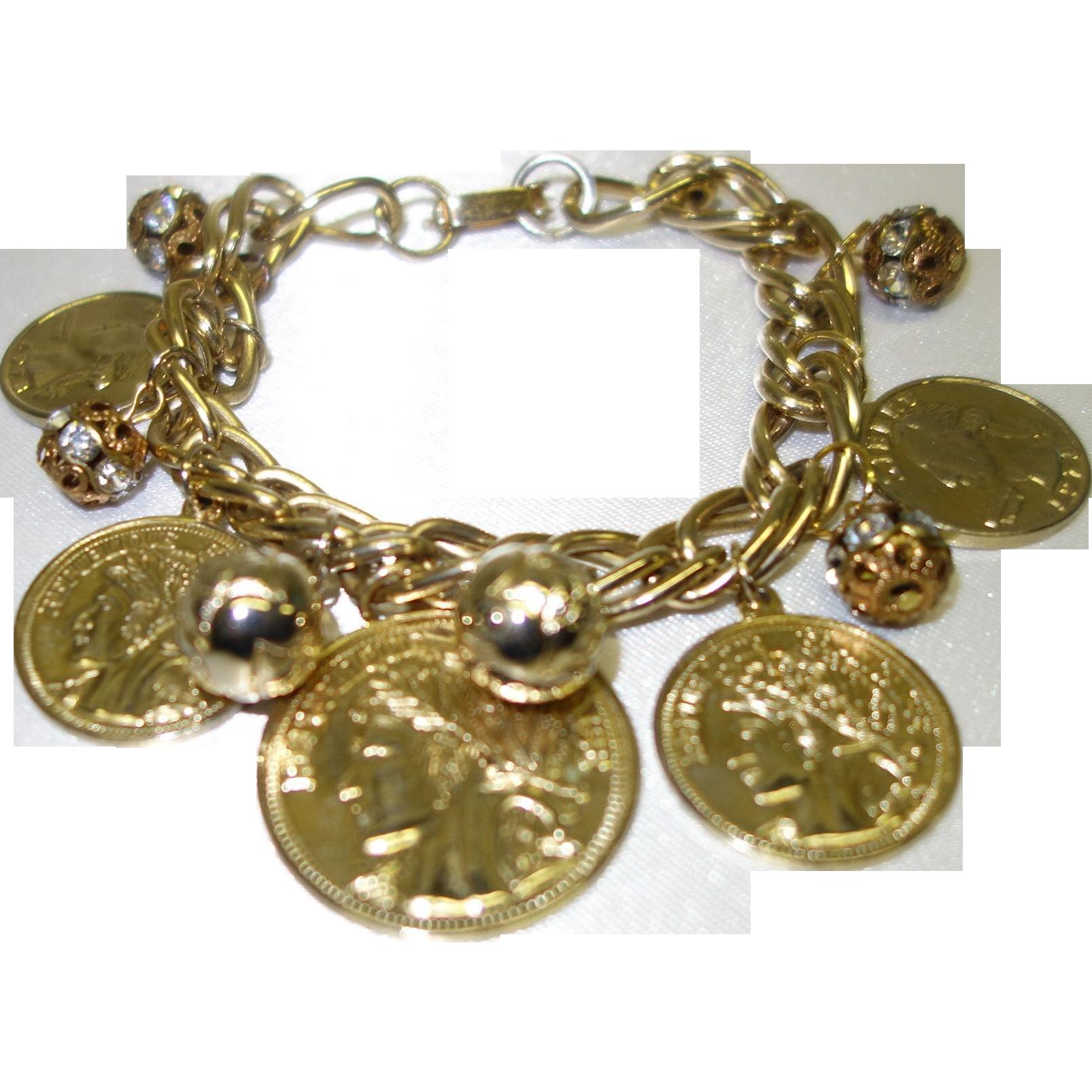 Vintage Faux Coin Charm Bracelet
