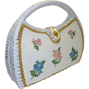 Handmade White Wicker Handbag with Beaded and Embroidered Floral Accents by Narber Originals Miami Beach
