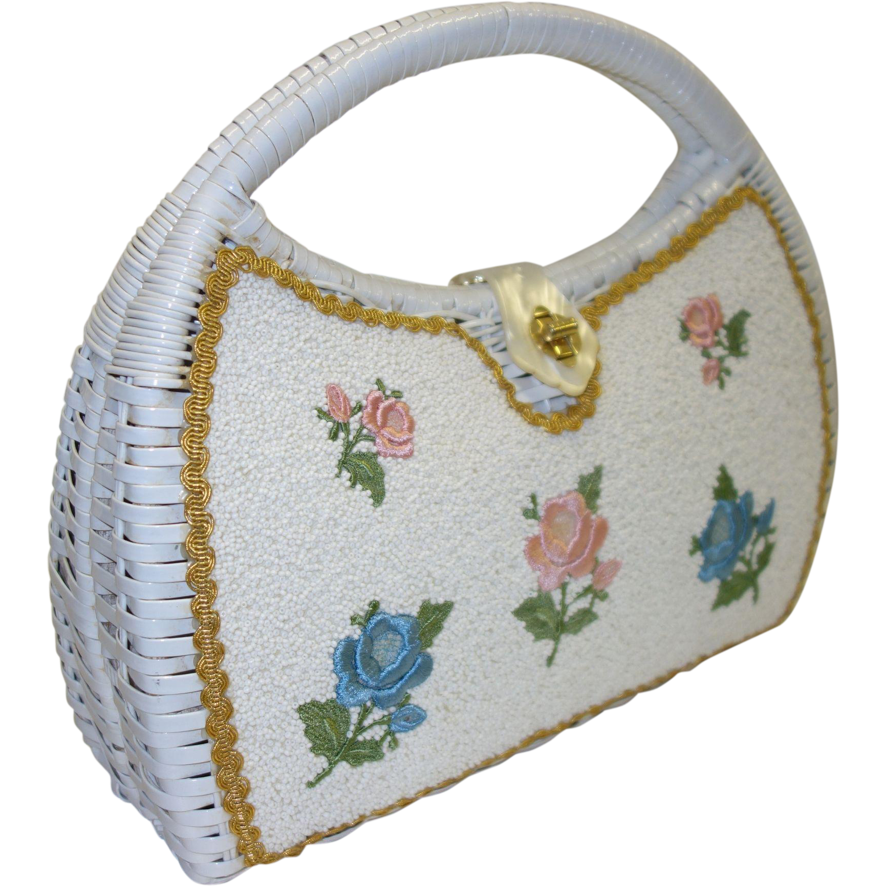 Handmade White Wicker Handbag with Beaded and Embroidered Floral Accents