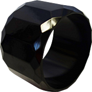 Extra WIDE Faceted Black Bakelite Bracelet