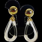 Vintage Clear Lucite Oval Hoop Drop Earrings