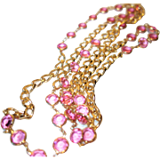 Vintage Pink Bezel Set Crystal Necklace