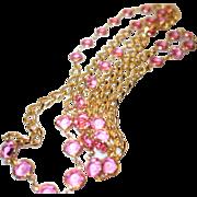 Vintage Pink Bezel Set Crystal Necklace