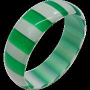Vintage Green and White Cased Striped Lucite Bangle Bracelet