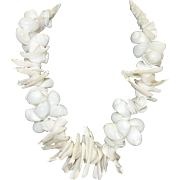 Vintage Chunky White Seashell Necklace